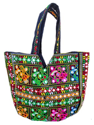 Shoptory India Embroidred Rajasthani Multicolor Handbag Casual Party Hobo Tote For Women Girls - Multicolored