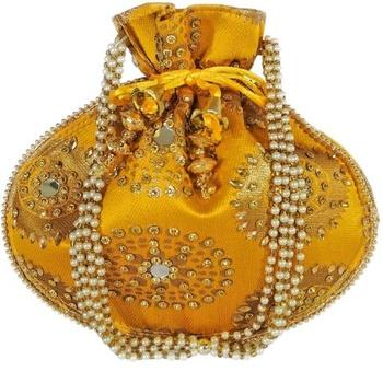 Shoptory India Wristlets Ethnic Hand Beaded Embellished Rajasthani Handbag Potli Casual For Women Girls - Yellow