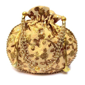 Shoptory India Hand Embroidered Rajasthani Jaipuri Silk Potli With Pearl handle For Women & Girls - Gold