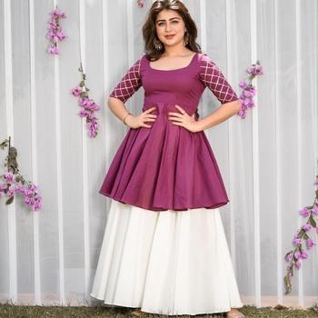 Noor Startup Women's Rayon Solid Print Flared Kurti With Sharara Set