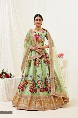 Light-green  embroidered art silk semi stitched lehenga