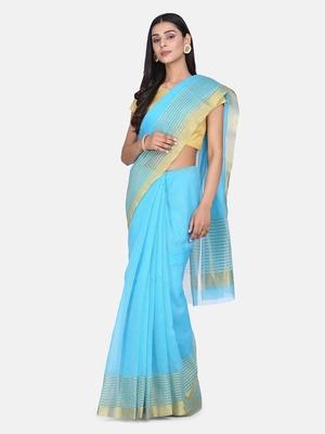 Sky-Blue Woven Cotton Silk Saree With Blouse