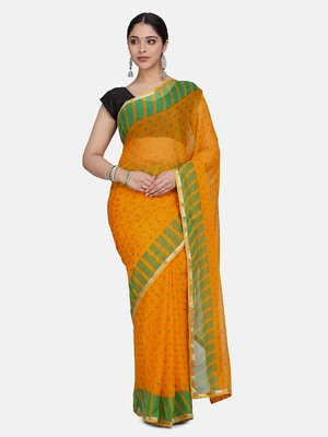 Yellow Printed Chiffon Sarees With Blouse