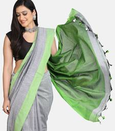 Grey Melange Plain Work Khadi Cotton Handloom Saree With Blouse