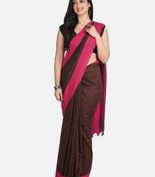Chocolate Plain Work Khadi Cotton Handloom Saree With Blouse