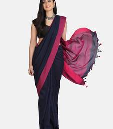 Navy Blue Plain Work Khadi Cotton Handloom Saree With Blouse