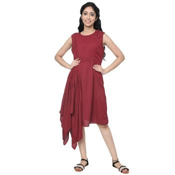 WOZTY Women's Comfortable Round Neck Sleeveless Striped Midi Bodycon Dress