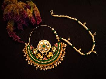 Designer kundan pearl stone bridal wedding nose ring indian style nath with pearl line