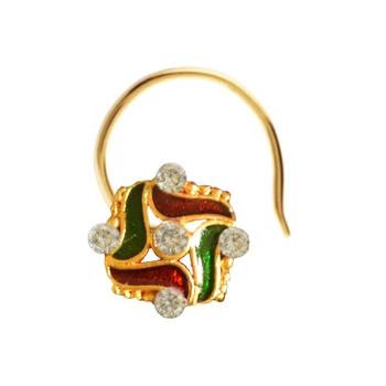 Designer Golden Meenakari Diamond Floral nose ring or Nose Pin