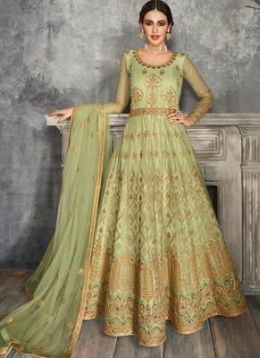 Green Golden Embroidered Anarkali Suit