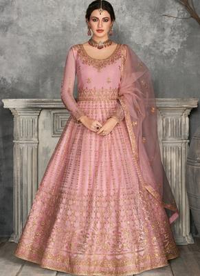 Pink Golden Embroidered Anarkali Suit