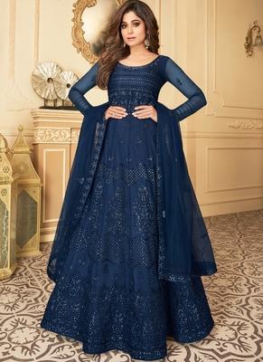 Navy Blue Embroidery Butterfly Net semistich Designer Silk Satin Salwar Suit.