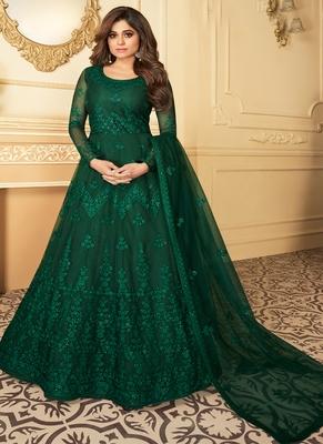 Green Embroidery Butterfly Net semistich Designer Silk Satin Salwar Suit.
