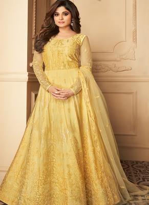 Yellow Embroidery Butterfly Net semistich Designer Silk Satin Salwar Suit.