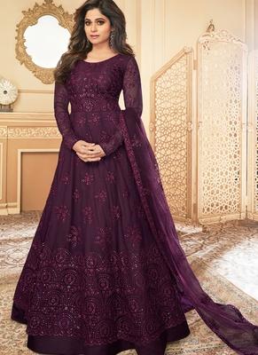Purple Lucknowi Embroidered Anarkali Suit