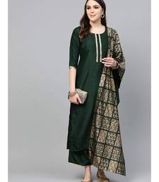 Women Hunter Green Gotta Rayon Kurta Set with Festive Traditional dupatta