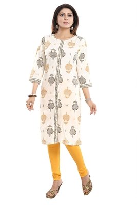 Cream printed rayon party-wear-kurtis
