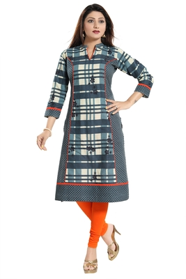 Multicolor printed cotton party-wear-kurtis