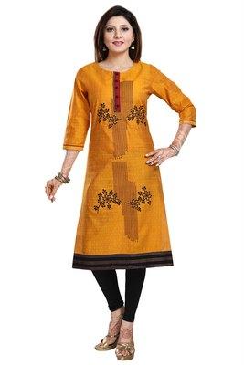 Mustard embroidered art silk party-wear-kurtis