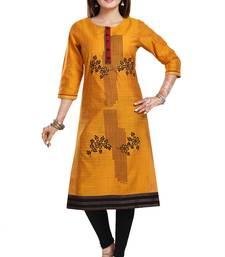 Mustard embroidered art silk party-wear-kurtis