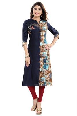 Dark-blue printed art silk party-wear-kurtis