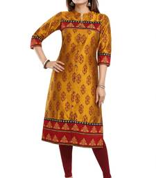 Mustard printed art silk party-wear-kurtis
