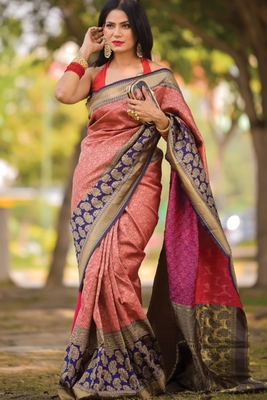 Red Designer Party Wear Silk Saree