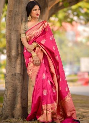 Rani Pink Designer Party Wear Silk Saree