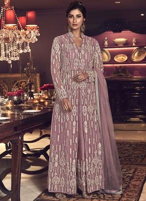 Onion Pink Butter Fly Net  Wedding Salwar Kameez