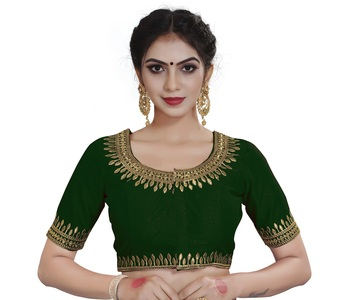 Xomantic Fashion Women's  Embroidery Work Green Color Readymade Saree blouse