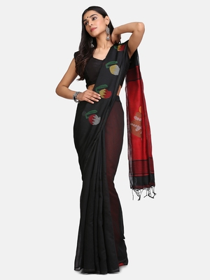 Red and Black Mithay Pallu Design Cotton Silk Handloom Saree With Blouse