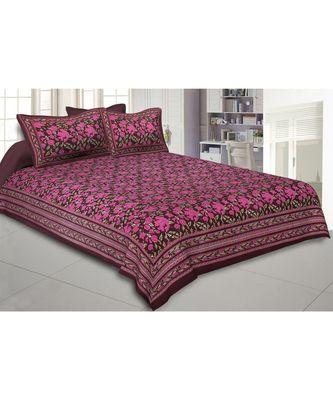 Cotton King Size 240 TC Maroon Floral Decor Double Bedsheet