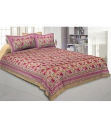 Cotton King Size 240 TC Lush Lotus Mustard Double Bedsheet