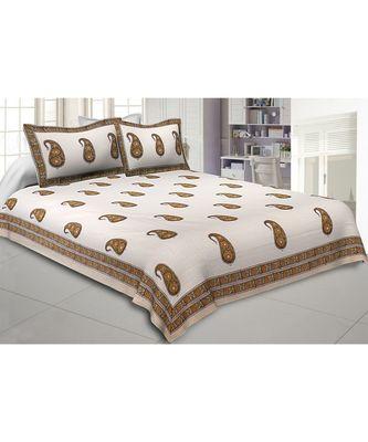 Cotton King Size 240 TC Awe of Hand Block Print Paisley Double Bedsheet