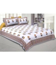 Cotton King Size 240 TC Mustard Mystic Marigold Double Bedsheet