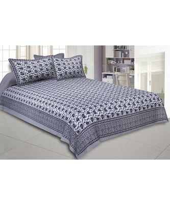 Cotton King Size 240 TC Grey Twinkling Jugnoo King Size Bedsheet