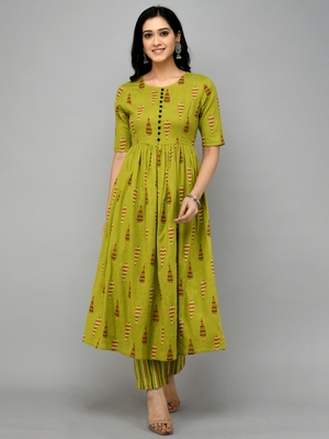 Cotton Green Fit And Flare Dress SET with bottom