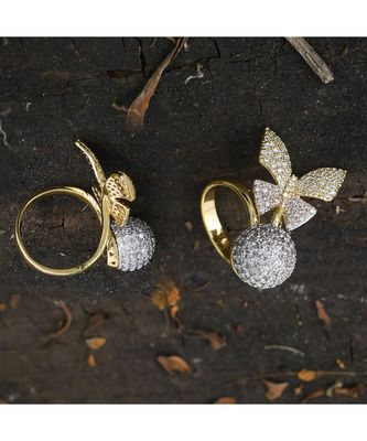 rose gold designer butterfly ring