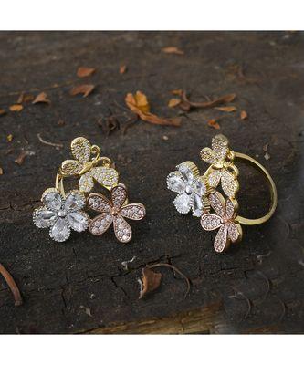 rose gold  designer flower ring
