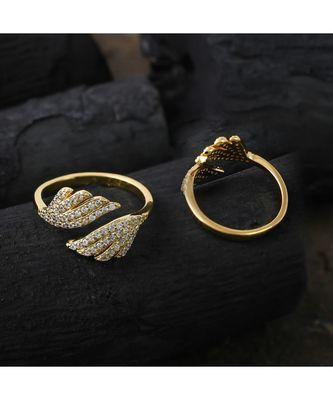 cute golden  delicate designer adjustable ring