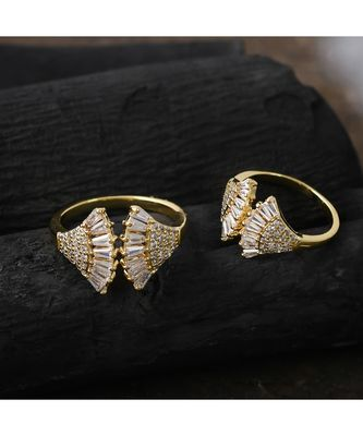 cute delicate golden beautiful adjustable ring