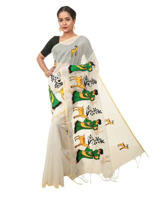 Martliner Self Design Solid Woven Tant Cotton Blend Saree