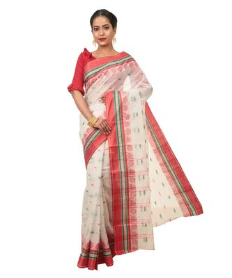 Martliner Self Design Solid Woven Self Design Tant Pure Cotton Saree