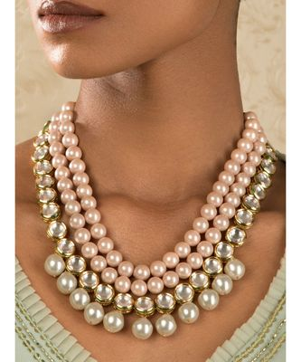 Riveting Pink And White Kundan Necklace