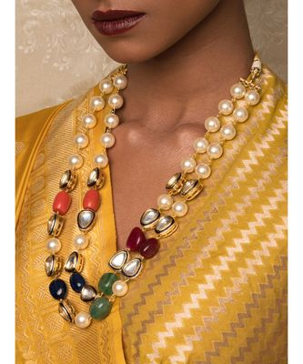 New Age Wonder Off White And Blue Kundan   Pearls And Jade Beads Necklace