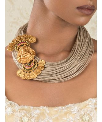 Divine Decadence Beige And Gold Jute Thread  Gold Pendant Necklace