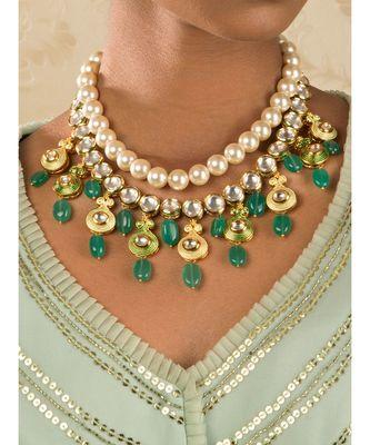 Ethnic Peak Green Enamelled Kundan  Jade Drops And Pearls Necklace