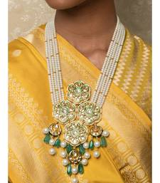 Jazzy Enamelled Green Kundan  Jade And Pearls Necklace