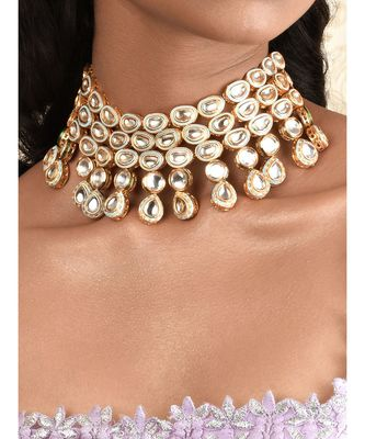 Glimmer And Gleam Gold Enamelled Kundan Necklace