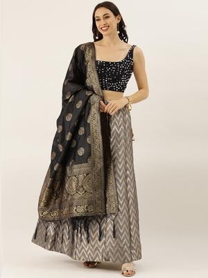 Grey printed silk semi stitched lehenga